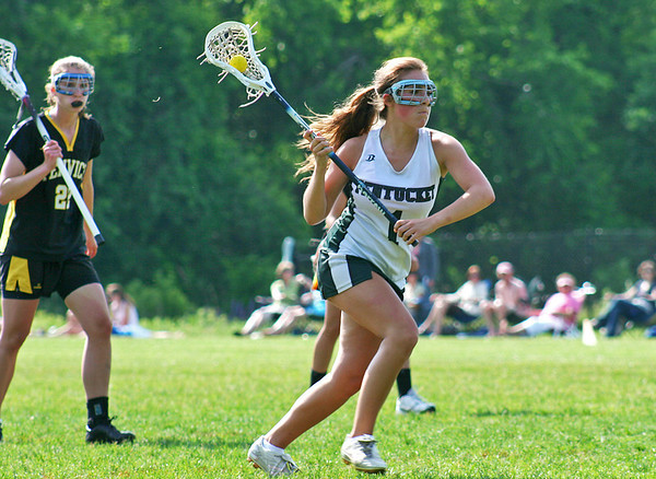West Newbury: Pentucket's Madeleine Parsons (1) lines up a shot on goal during Wednesday's state tournament game against Bishop Fenwick. Photo by Ben Laing/Staff Photo