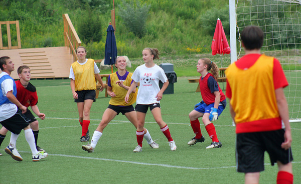 Amesbury: Members of the Amesbury boys and girls Under-19 soccer teams practice together at Amesbury Sports Park Wednesday afternoon. Both teams have gone undefeated and will play in the county championship game on Thursday. Photo by Ben Laing/Staff Photo