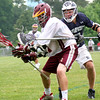 Newburyport: Newburyport's Sam Francis (37) battles a Swampscott defender during Tuesday's victory at Newburyport High. Photo by Ben Laing/Staff Photo