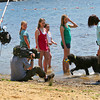 "Amesbury: A crew from the Animal Planet show, ""Dogs 101"", film two local Irish Water Spaniels at Lake Gardner in Amesbury Wednesday afternoon. The episode is planned to air sometime next fall. Photo by Ben Laing/Staff Photo"