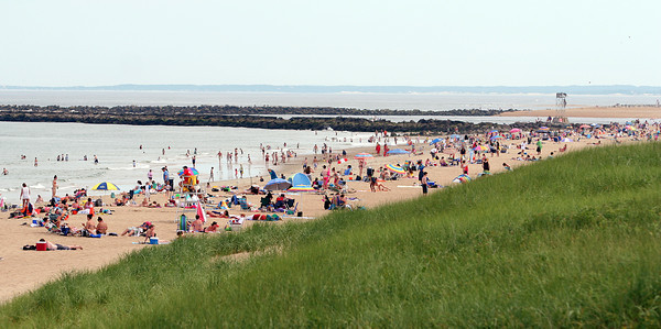 Salisbury: Salisbury Beach Reservation was crowded Tuesday afternoon, even with temperatures cooler than over the weekend. Photo by Ben Laing/Staff Photo