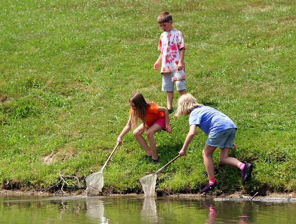 Amesbury: Drew Macdonald, 6, watches his sister Marin, left, and her friend, Lexi Simmons, all of Amesbury, hunt for frogs in the pond at Amesbury Town Park Tuesday afternoon. Photo by Ben Laing/Staff Photo