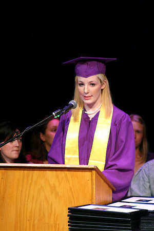 Newburyport: Laura Stevens addresses her graduating class from the Sparhawk School Monday afternoon as they held their commencment ceremony at the Firehouse in Newburyport. Photo by Ben Laing/Staff Photo