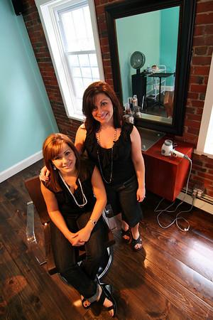 Newburyport: Melissa Paulhus, left and Jennifer Taormina. Photo by Ben Laing/Staff Photo - FOR AD - Aaqua Blue Salon