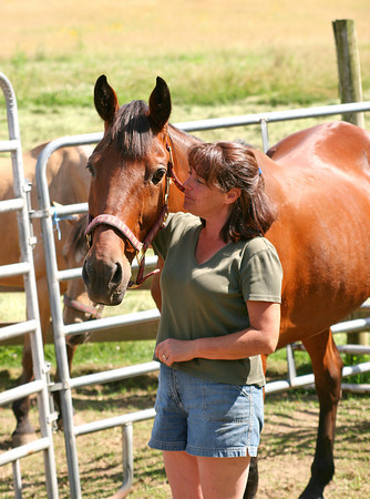 West Newbury: Mary Martin and one of her rescue horses, Clint, at their farm in West Newbury. Photo by Ben Laing/Staff Photo