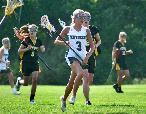 West Newbury: Pentucket's Breanna Yocum (3) rushes the ball up the field during Wednesday's state tournament game against Bishop Fenwick. Photo by Ben Laing/Staff Photo