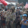 Newburyport: Boy Scouts, Cub Scouts , Girl Scouts and Brownies stand at attention for the National Anthem  during the Newburyport Memorial Day ceremony  Monday.  Jim Vaiknoras/Staff photo
