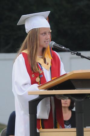 Amesbury: Amesbury High Salutatorian Colleen Brockmyre speaks at Graduation at Landry Stadium Friday night. Jim Vaiknoras/Staff photo