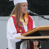 Amesbury: Amesbury High Salutatorian Colleen Brockmyre speaks at Graduation at Landry Stadium Friday night. Jim Vaiknoras/Staff photo