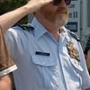 Newburyport: Kevin Burke USCG Ret. salutes during the Newburyport Memorial Day ceremony  Monday.  Jim Vaiknoras/Staff photo