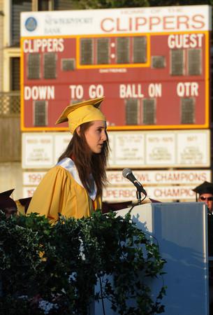 Newburyport: Newburyport High Valedictorian Samantha Baribeault speaks during graduation at World War Memorial Stadium in Newburyport Monday night. Jim Vaiknoras/Staff photo