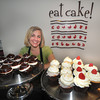 "Newburyport: Hilary Larson at her ""Eat Cake"" bakery on Prince Place in Newburyport. Jim Vaiknoras/Staff photo"