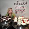 "Newburyport: Hilary Larson at her ""Eat Cake"" bakery on Prince Place in Newburyport. Jim Vaiknoras/Staff photo"