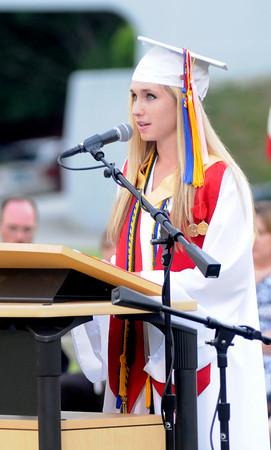 Amesbury: Amesbury High Valedictorian Rebecca Crochiere speaks at Graduation at Landry Stadium Friday night. Jim Vaiknoras/Staff photo