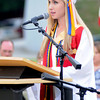 Amesbury: Amesbury High Valedictorian Rebecca Crochiere speaks at Graduation at Landry Stadium Friday night. Jim Vaiknoras/Staff photo