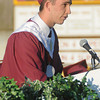 Newburyport: Newburyport High Salutatorian Stewart Pine speaks during graduation at World War Memorial Stadium in Newburyport Monday night. Jim Vaiknoras/Staff photo