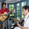 Newburyport:Benny Zanfagna sings with his dad Jimmy  at his Newburyport studio. Jim Vaiknoras/Stff photo