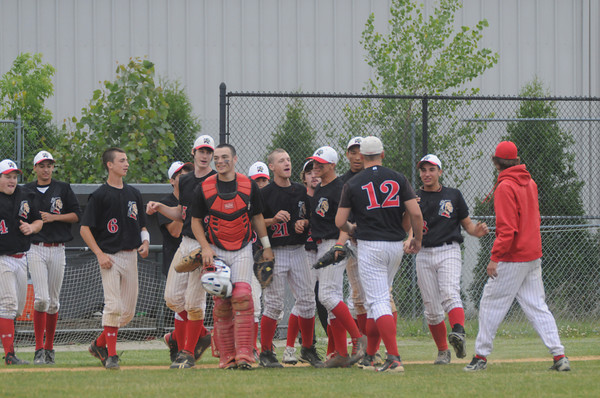 lowell:  Amesbury celebrates their victory over Bishop Fenwick at Alumni Field in Lowell Wednesday night. Jim Vaiknoras/Staff photo