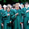 West Newbury:members of the  Pentucket graduating class recite the Pledge of Allegiance at commencement Saturday morning in West Newbury. Jim Vaiknoras/Staff photo