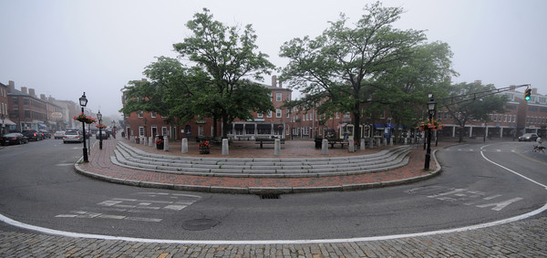 Newburyport; A thick fog settles in Market Square in Newburyport early Sunday morning. Jim Vaiknoras/Staff photo