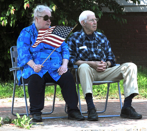 Amesbury: Jim and Margaret Krafton on Amesbury found a shady spot to watch the Amesbury Memorial Day parade on School Street Monday morning. Jim Vaiknoras/Staff photo