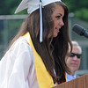 West Newbury: Pentucket Valedictorian Taylor Beech gives her address  at commencement Saturday morning in West Newbury. Jim Vaiknoras/Staff photo