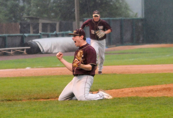Lowell: Whittier pitcher Dillon Ryan celebrates the final strike out in  the Wildcats 6-0 defeat of Amesbury Saturday at LeLacheur Park in Lowell. Jim Vaiknoras/Staff photo