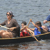 Amesbury: Michael and Lori-Ann Hogg and their kids Oliver and Piper compete in the annual Canoe Race on Lake Gardner in Amesbury. Jim Vaiknoras/Staff photo