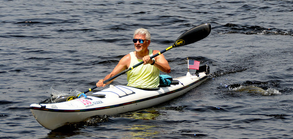 Amesbury: Pete Schacht, 63, was the first kayak and 2nd over all in the annual Canoe Race on Lake Gardner in Amesbury. Jim Vaiknoras/Staff photo