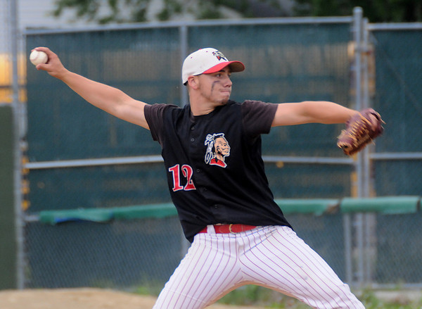lowell: Amesbury's Sean Ward pitches the Indians to victory over Bishop Fenwick at Alumni Field in Lowell Wednesday night. Jim Vaiknoras/Staff photo