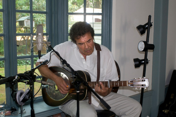 Newburyport:Benny Zanfagna sings with his dad Jimmy  at his Newburyport studio. Jim Vaiknoras/Stff photo