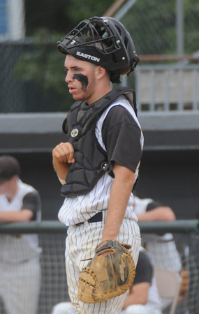 lowell:  Bishop Fenwick catcher Joe Bona during the Crusaders loss to Amesbury at Alumni Field in Lowell Wednesday night. Jim Vaiknoras/Staff photo