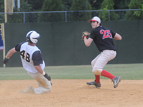 lowell:  Bishop Fenwick's Bryan Church is out at second as Amesbury's Tyler Lay turns a game ending double play  at Alumni Field in Lowell Wednesday night. Jim Vaiknoras/Staff photo