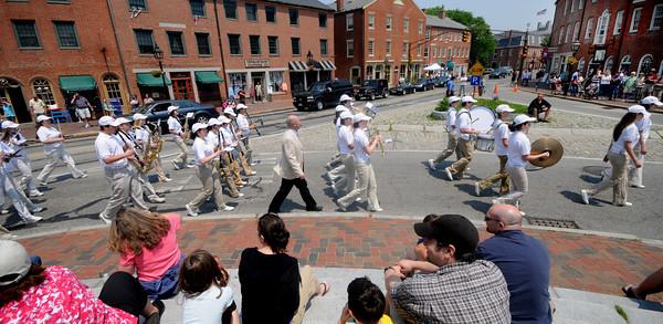 Newburyport: THe Newburyport High School Band  marches through Market Square in the Newburyport Memorial Day Parade Monday.  Jim Vaiknoras/Staff photo