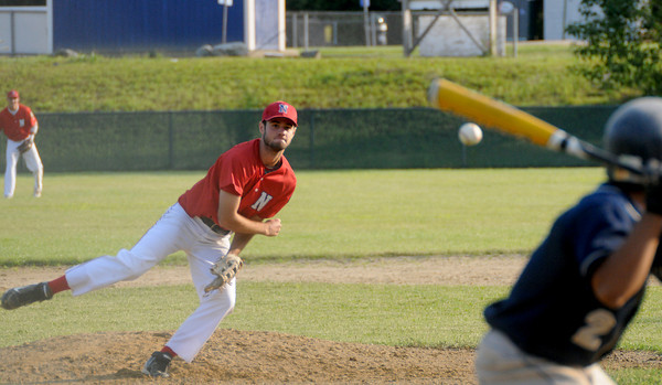 Rowley: Nor'easters' Ryan Browner pitches during the teams game against  Lynn at Eiras Park in Rowley Friday night. Jim Vaiknoras/Staff photo