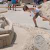 salisbury: Cara and Kirsten Davidson of Methuen seach for clues at the Treasure Island Sand Sculpture Adventure at the Sand and Sea Festival at Salisbury Beach Center  this weekend. Jim Vaiknoras/Staff photo