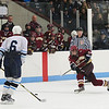 Chelmsford: Newburyport's Cam Roy (4) fires a shot on the Wilmington net during Monday night's 3-1 win in Chelmsford. The Clippers handed Wilmington their first defeat of the year and eliminated them from the state tournament. Photo by Ben Laing/Staff Photo