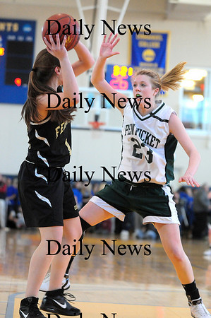 Boston: Holly Jakobsons (23) of Pentucket applies pressure to a Bishop Fenwick player during Saturday's game at Emmanuel College in Boston. Photo by Ben Laing/Staff Photo