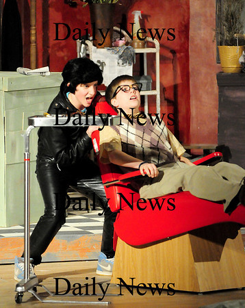 """Newburyport: Davi Dunn-Pilz, left, who plays Orin the dentist, rehearses a scene with Josh Raposa, playing Seymour, the lead character in the Nock Middle School's production of """"Little Shop Of Horrors"""", which opens on March 24th. Photo by Ben Laing/Staff Photo"""