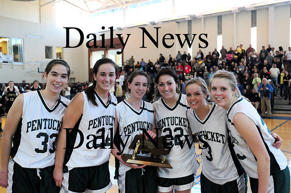 Boston: The Pentucket seniors, from left, Abby Stephenson, Ashley Viselli, Erin McNamara, Jessica Gayton, Emily Lane, and Holly Jakobsons, accept the Massachusetts North Sectional Championship trophy after defeating Bishop Fenwick Saturday afternoon. The Sachems will move on to play in the Eastern Massachusetts final Tuesday at the BankNorth Garden. Photo by Ben Laing/Staff Photo