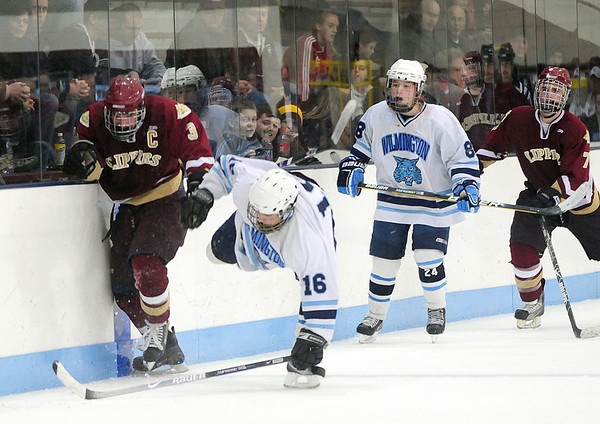 Chelmsford: Newburyport's Kyle McElroy (3) lays out Wilmington's Thomas Quilty (16) during the Clippers' 3-1 victory Monday night. Photo by Ben Laing/Staff Photo