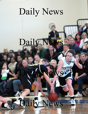 Boston: Erin McNamara (12) steals the ball from a Bishop Fenwick player during Saturday's game at Emmanuel College in Boston. Photo by Ben Laing/Staff Photo