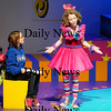 "Newbury: Ania Burgess, 11, right, and Sarah Collins, 12, left, rehearse a scene from Newbury Elementary's upcoming play ""Circus-O-Scenario"". Photo by Ben Laing/Staff Photo"