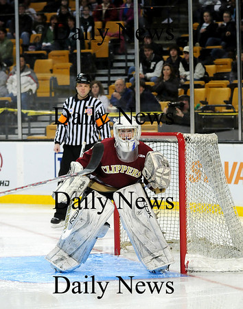 Boston: Newburyport goalie Anthony Federico (1) watches the puck during Sunday's state championship game against Canton. Photo by Ben Laing/Staff Photo