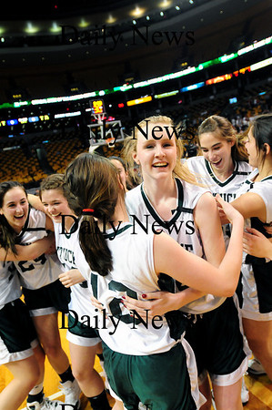 Boston: Vanessa Cahill (34), center, celebrates with teammate Erin McNamara (12) and the rest of the Sachems as Pentucket defeated Archbishop Williams 62-37 Tuesday afternoon at the TD Garden in Boston. Photo by Ben Laing/Staff Photo
