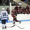 Chelmsford: Newburyport's Kyle McElroy (3) blasts a slap shot at the Wilmington net during Monday night's 3-1 win in Chelmsford. Photo by Ben Laing/Staff Photo