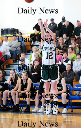 Pentucket: Pentucket's Erin McNamara (12) drains a big three pointer right in front of the Bishop Fenwick bench as the Sachems advanced to the next round of the state tournament with a win Saturday. Photo by Ben Laing/Staff Photo