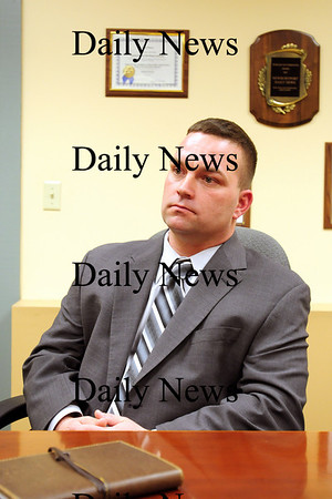 Newburyport: Damian Anketell, candidate for Essex County Sheriff, meets with the Newburyport Daily News editorial staff Monday afternoon. Photo by Ben Laing/Staff Photo