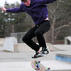 Amesbury: Branden Predki, 18, of Amesbury, takes advantage of the dry skate park Wednesday afternoon, despite the cold temperatures. Photo by Ben Laing/Staff Photo