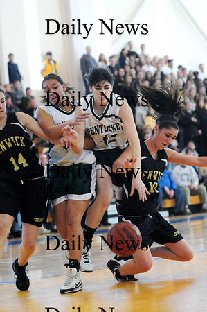 Boston: Sachems' Sarah Higgins (31) and Tess Nogueira (32) collide with Bishop Fenwick's Maura Doyle (14) and Sarah James (10) while going after a loose ball during Saturday's game at Emmanuel College. Photo by Ben Laing/Staff Photo